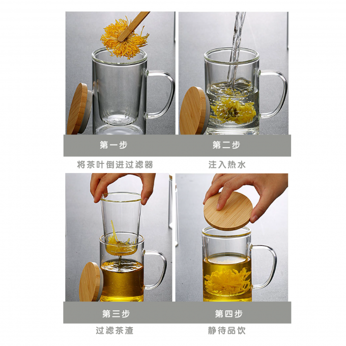 Glass Tea Cup With Filter & Lid